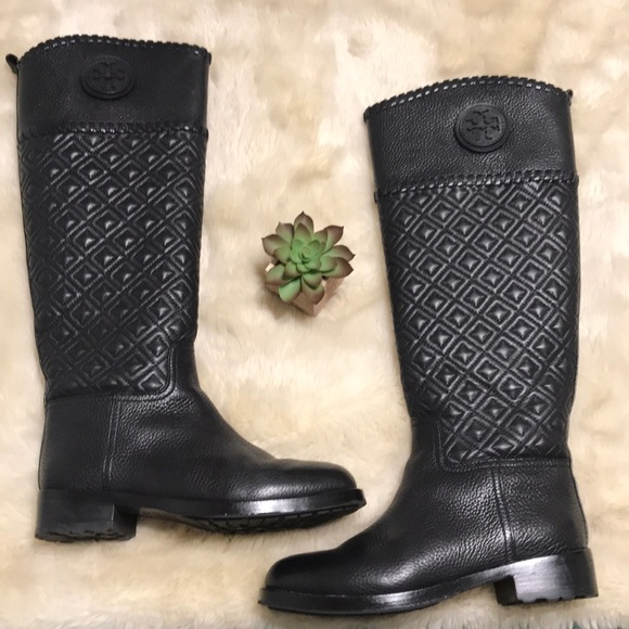 7f0000900a1 Tory Burch Black Marion quilted riding boot size 7